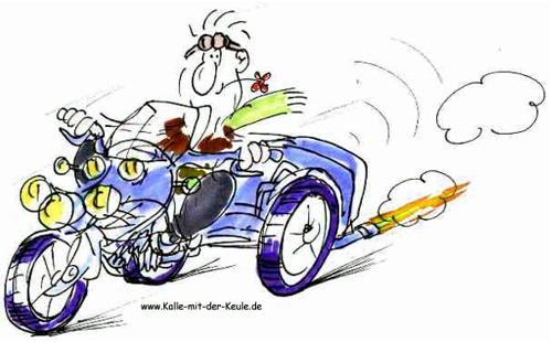 lustiger Trike Fahrer
